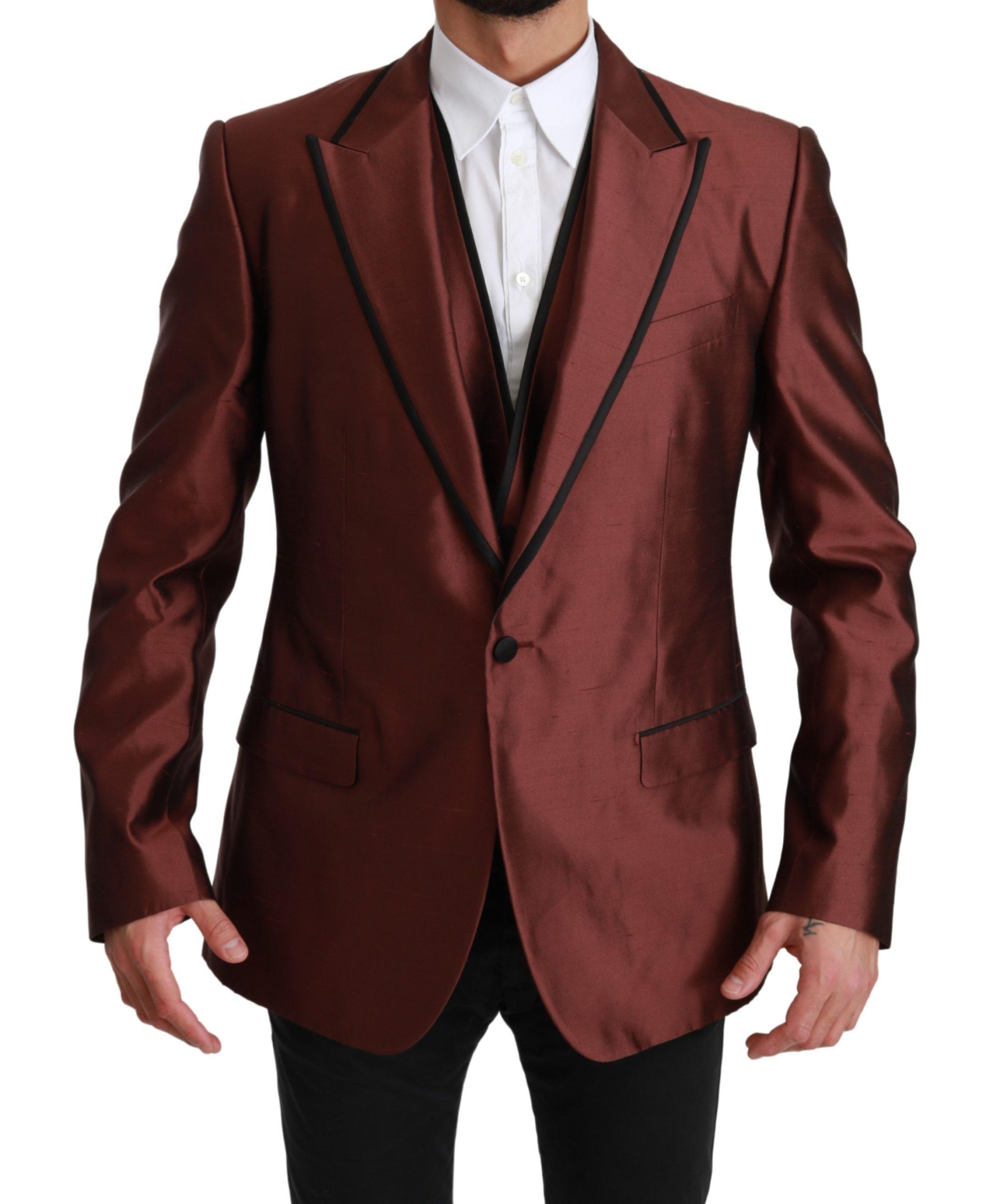 Dolce & Gabbana Men's Silk Vest 2 Piece Blazer Bordeaux KOS1663 - IT52 | XL