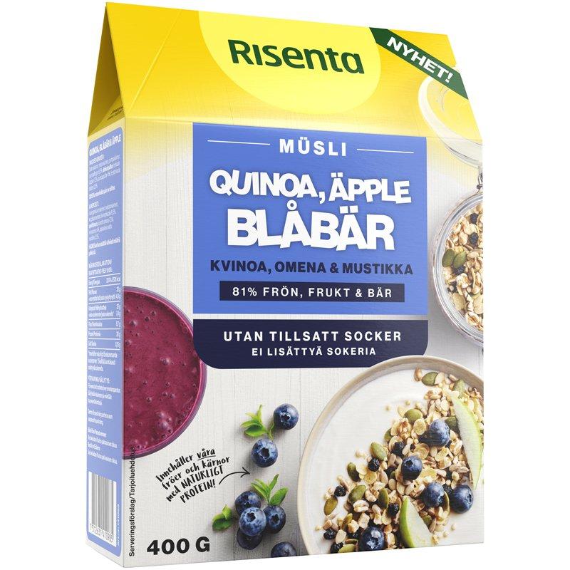 Müsli Quinoa, blåbär & äpple - 35% rabatt