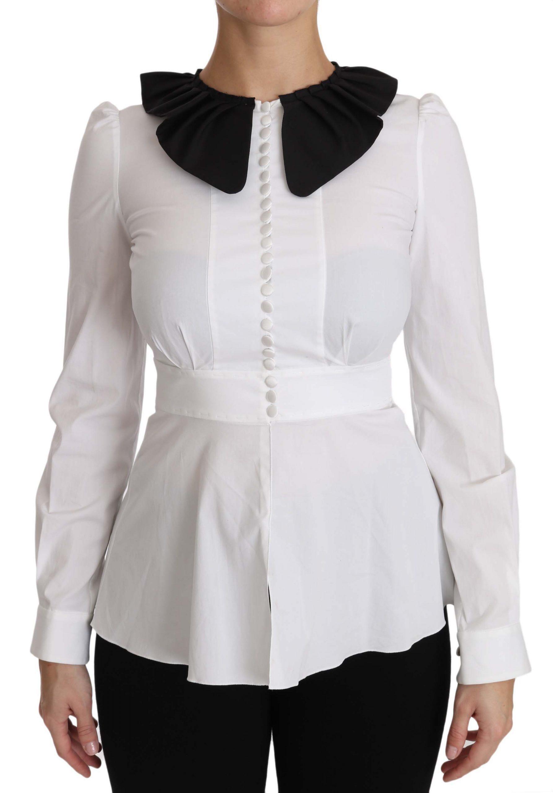 Dolce & Gabbana Women's Collar Longsleeve Tops White TSH2949 - IT36   XS