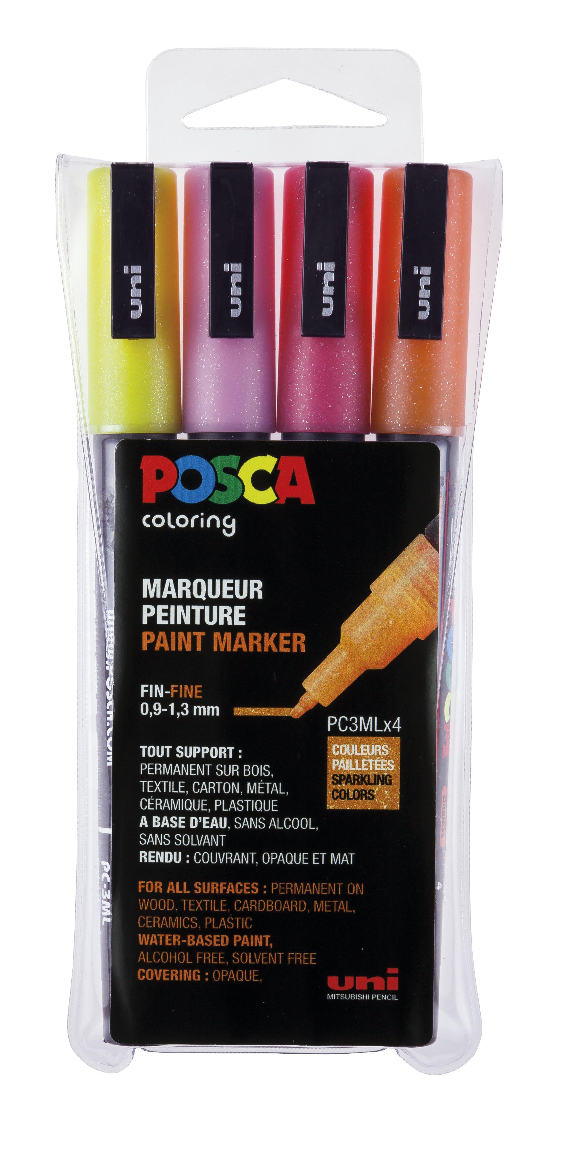 Posca - PC3M - Fine Tip Pen - Glitter pink, 4 pc