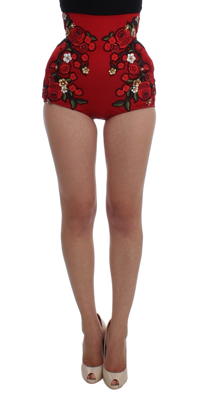 Dolce & Gabbana Women's Silk Roses Sicily Shorts Red SIG20125 - IT40|S