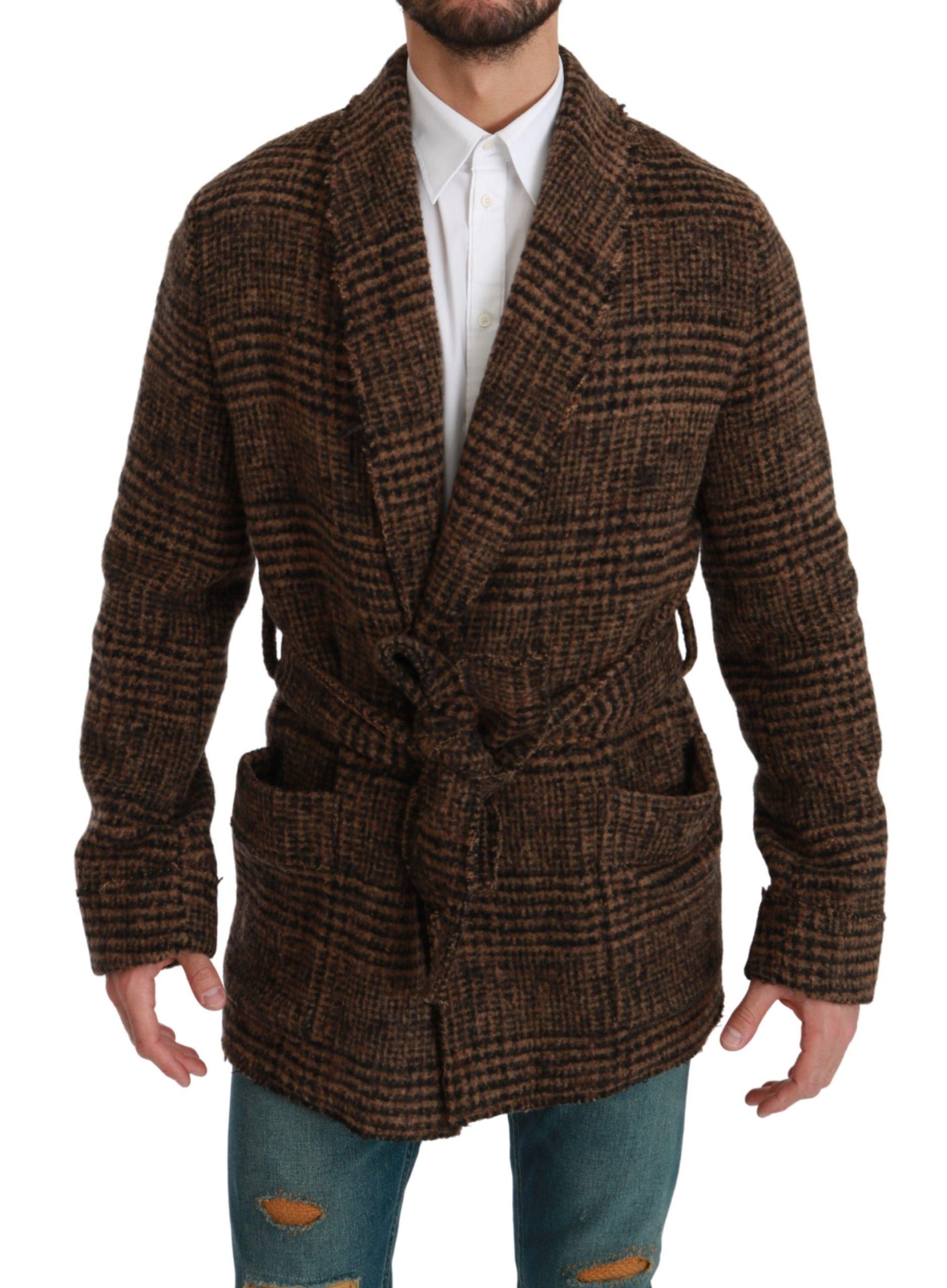 Dolce & Gabbana Men's Checkered Wool Robe Wrap Coat Red JKT2623 - IT44 | XS