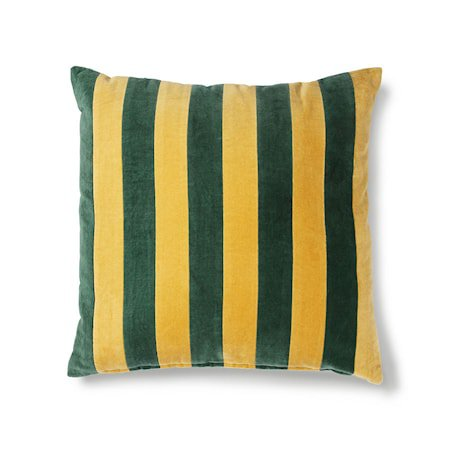Striped Cushion Velvet Green/Mustard 50x50 cm