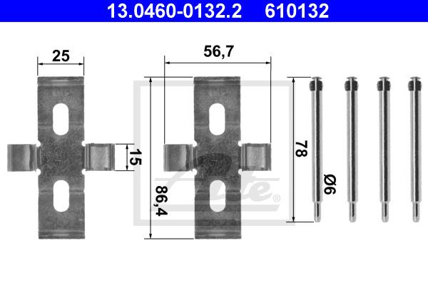 Tarvikesarja, jarrupala ATE 13.0460-0132.2