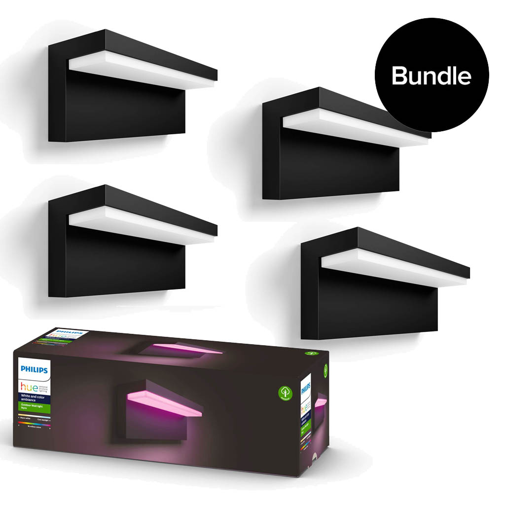Philips Hue - 4x Nyro Outdoor Wall Light - White & Colour Ambiance - Bundle
