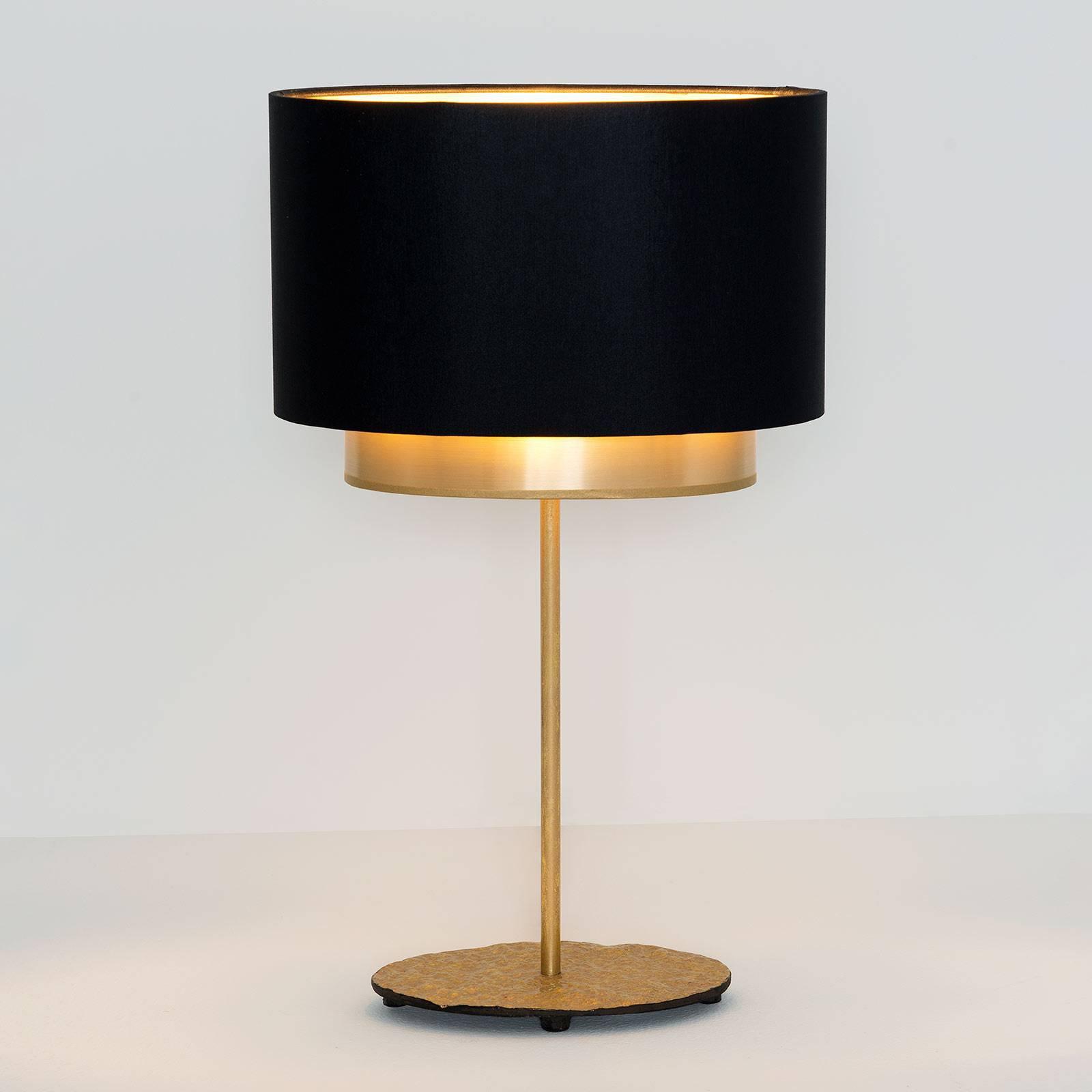 Bordlampe Mattia, oval, dobbel, svart/gull