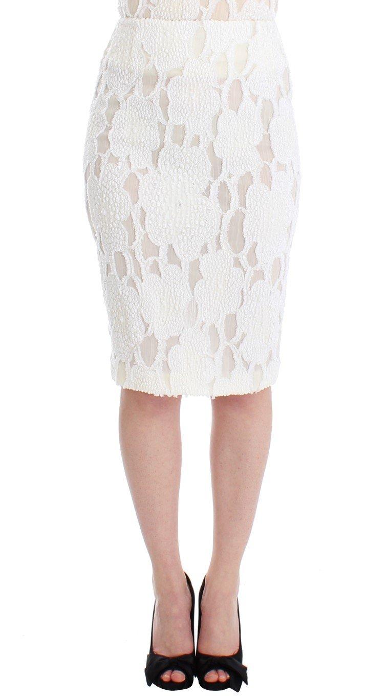 Andrea Incontri Women's Silk Straight Knee-length Pencil Skirt White SIG12680 - IT40 S