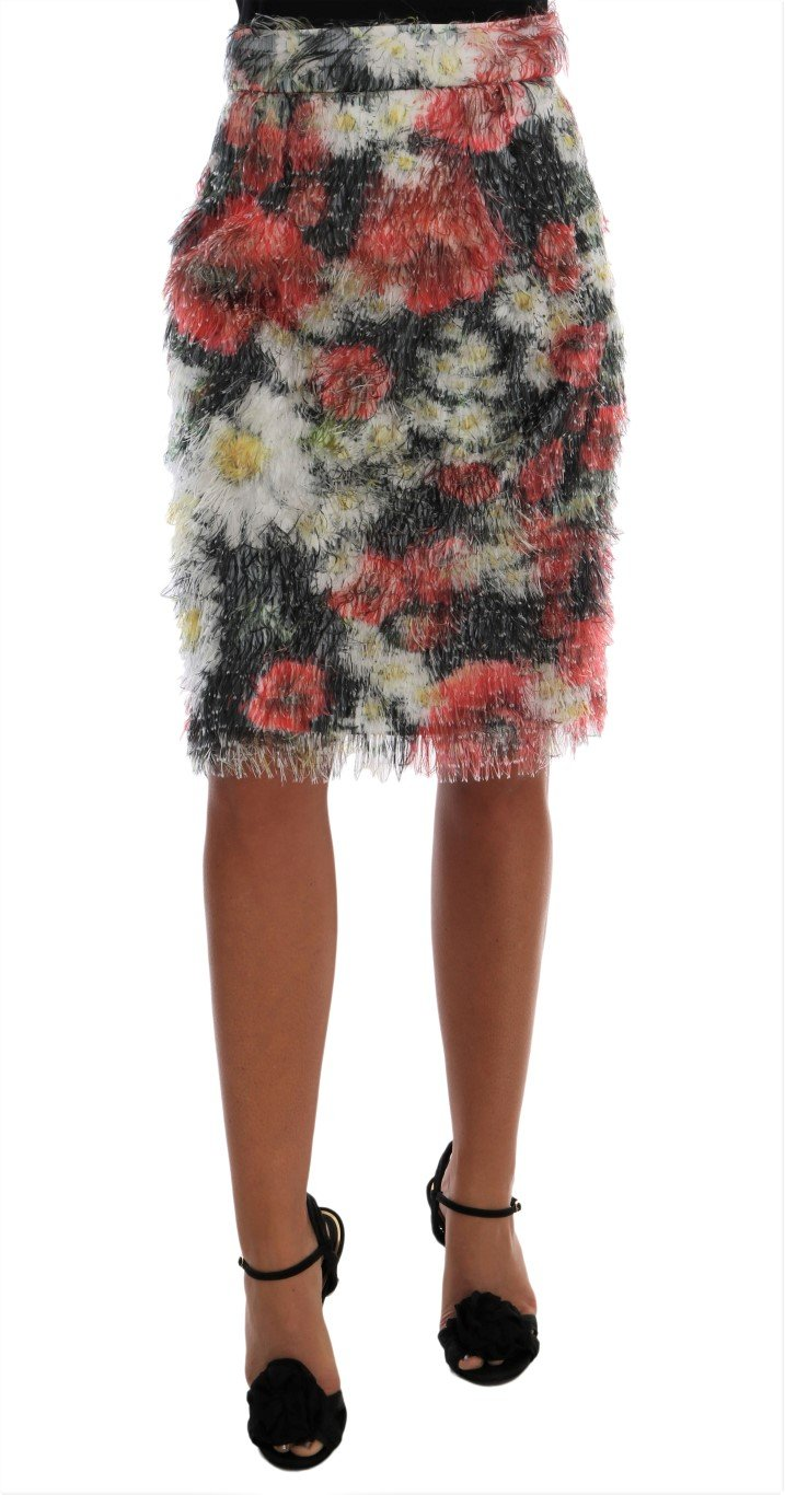 Dolce & Gabbana Women's Floral Patterned Pencil Straight Skirt Multicolor SKI1030 - IT38 XS