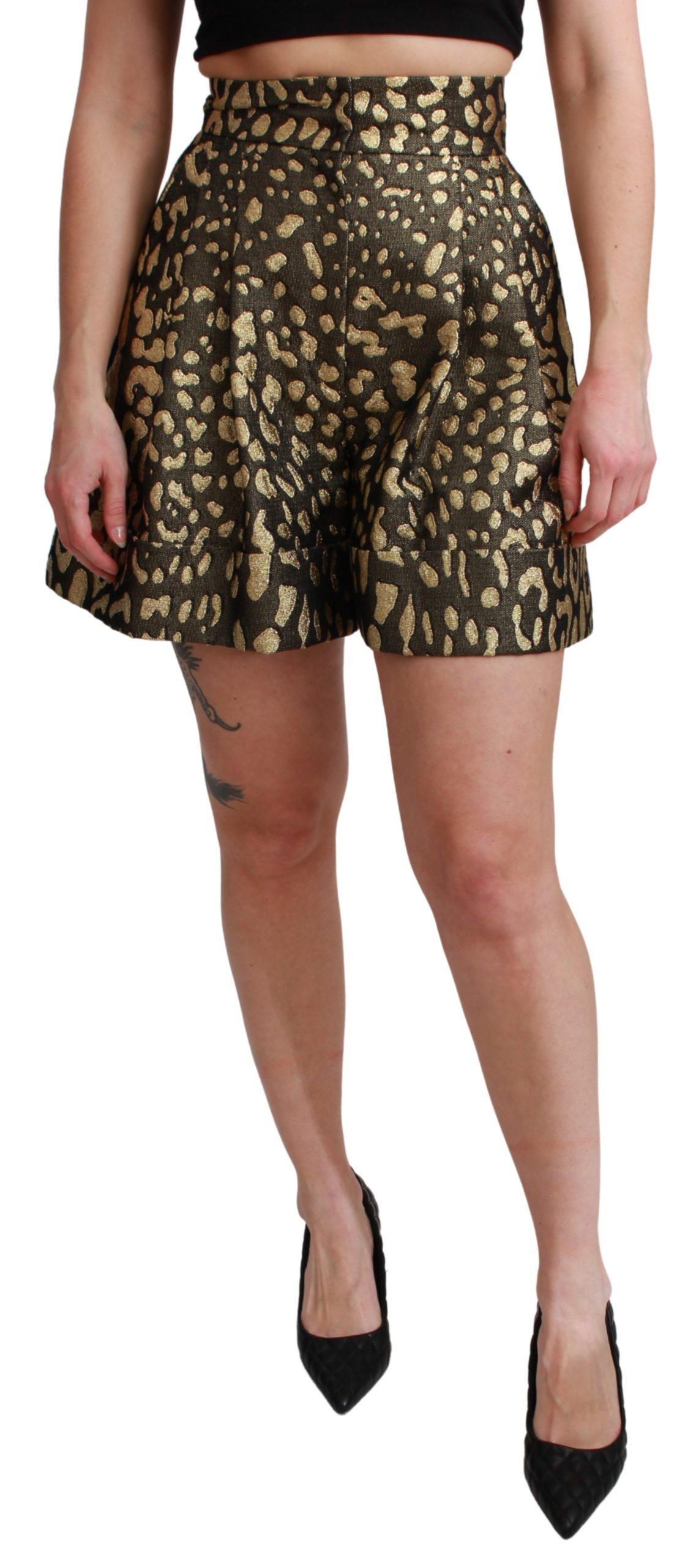 Black Gold High Waist Mini Cotton Shorts - IT40|S