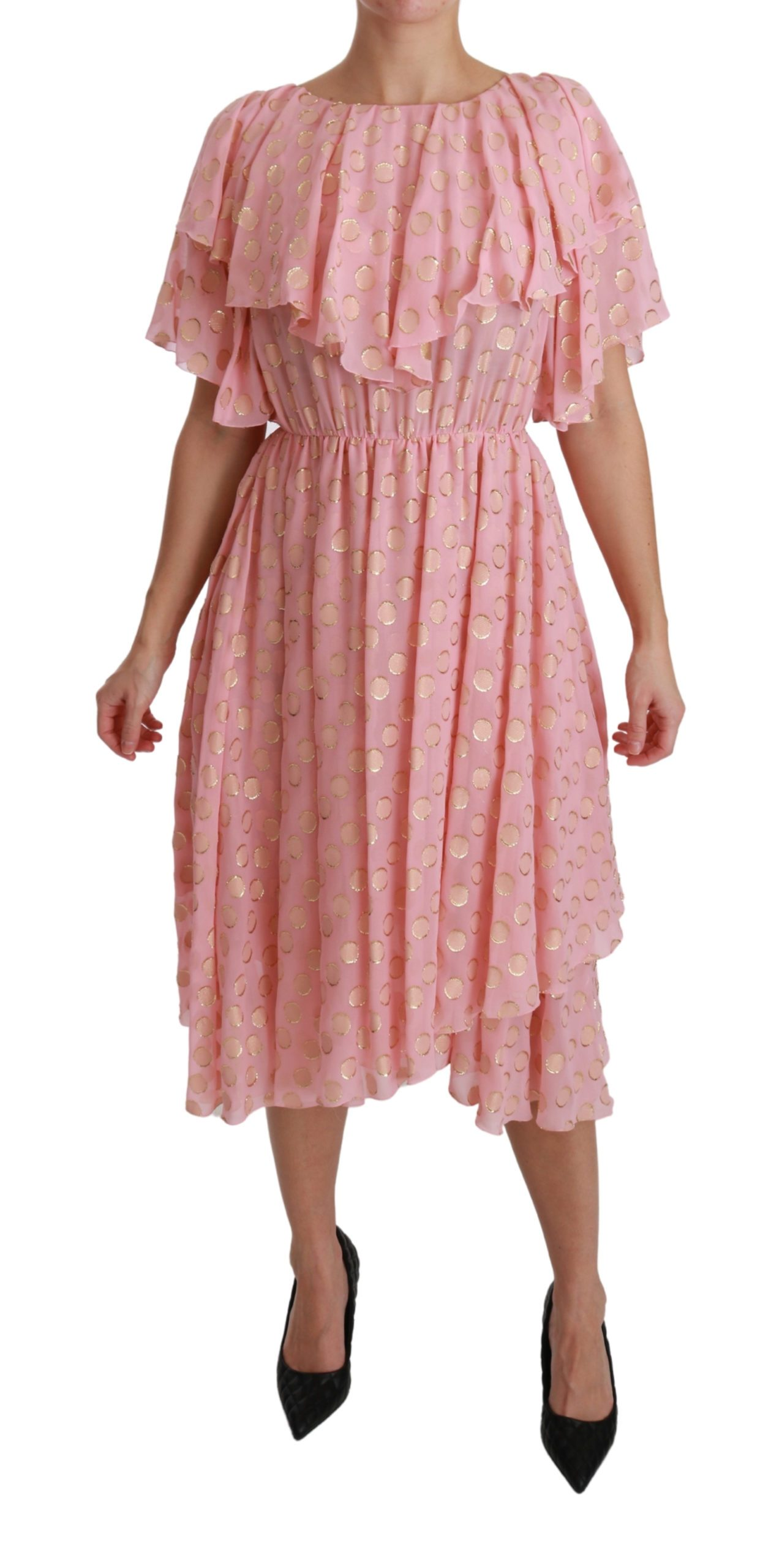Dolce & Gabbana Women's Polka Dots Pleated A-line Midi Dress Pink DR2520 - IT40 S