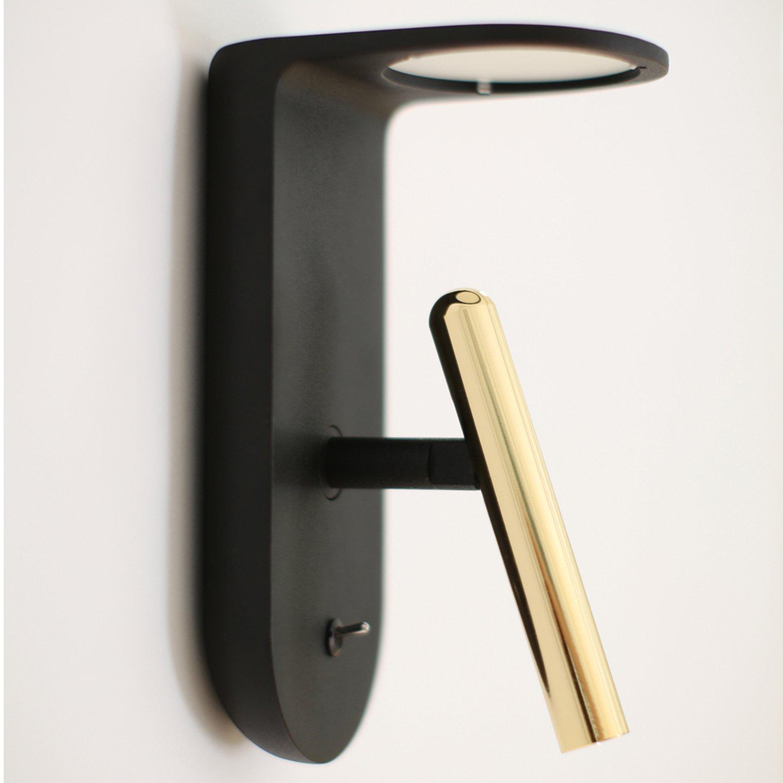 2Nights_W2 LED-vegglampe designet i svart-gull