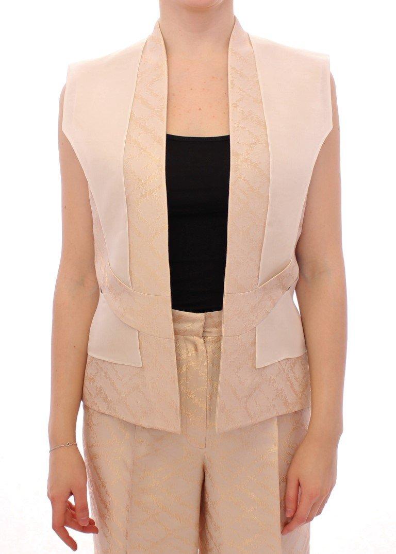 Zeyneptosum Women's Brocade Seeveless Jacket Beige MOM10090 - IT40|S