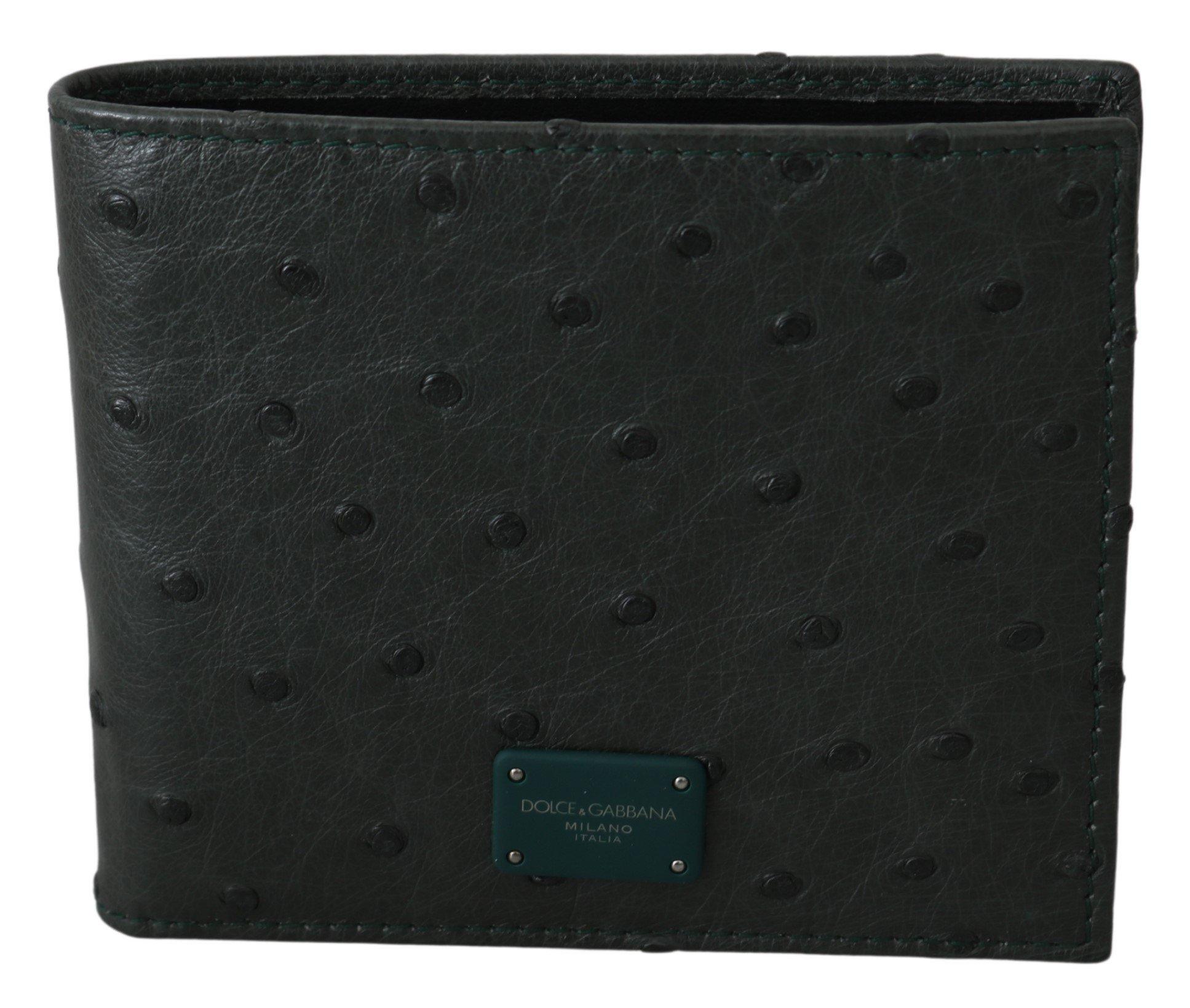 Dolce & Gabbana Men's Ostrich Leather Bifold Wallet Green VAS9692