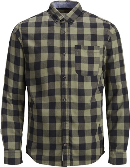 PRODUKT Graham Check Skjorte, Dusty Olive 158/164