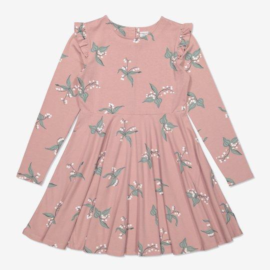 Snurrekjole med liljekonvall-trykk rosa