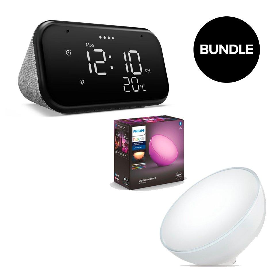 Lenovo - Smart Clock Essential + Philips Hue - Go Table Lamp - Bundle