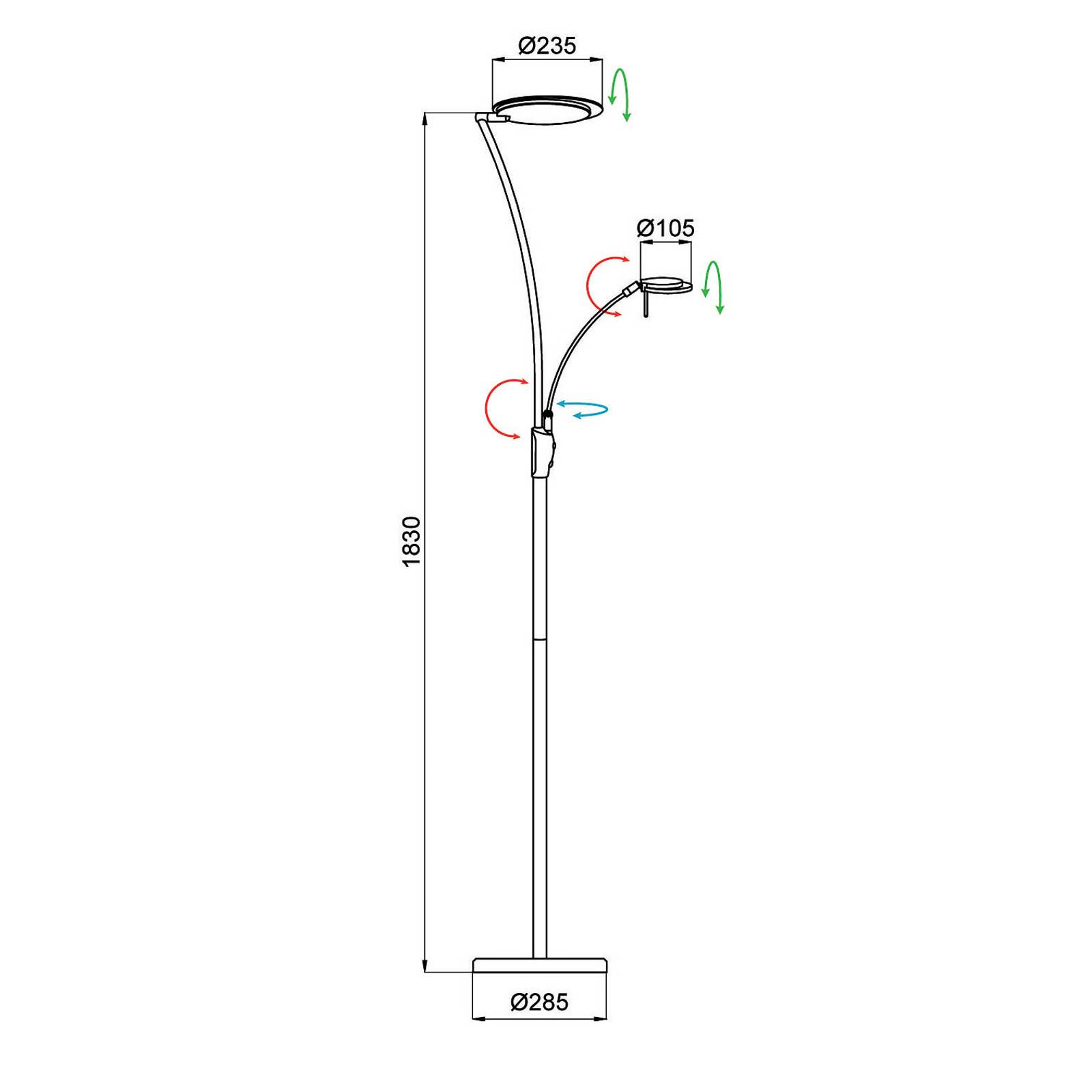 Aluminor Kitel 89 -LED-lattiavalo LED-lukuvalolla