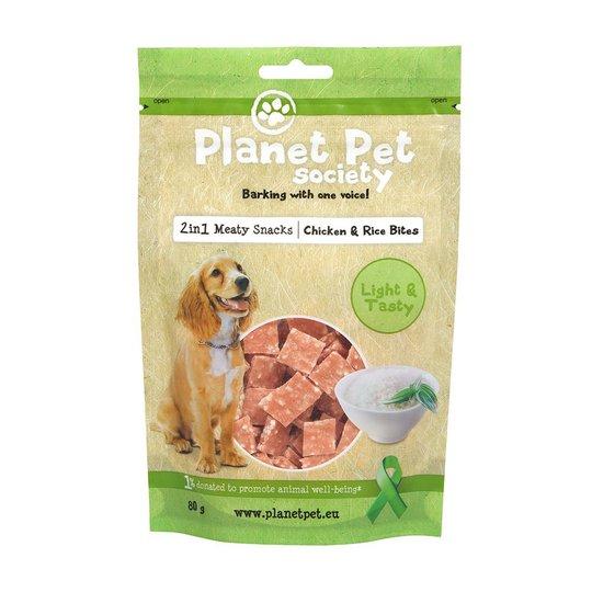 Planet Pet Society 2in1 Treats Kyckling & Risbitar (80 gram)