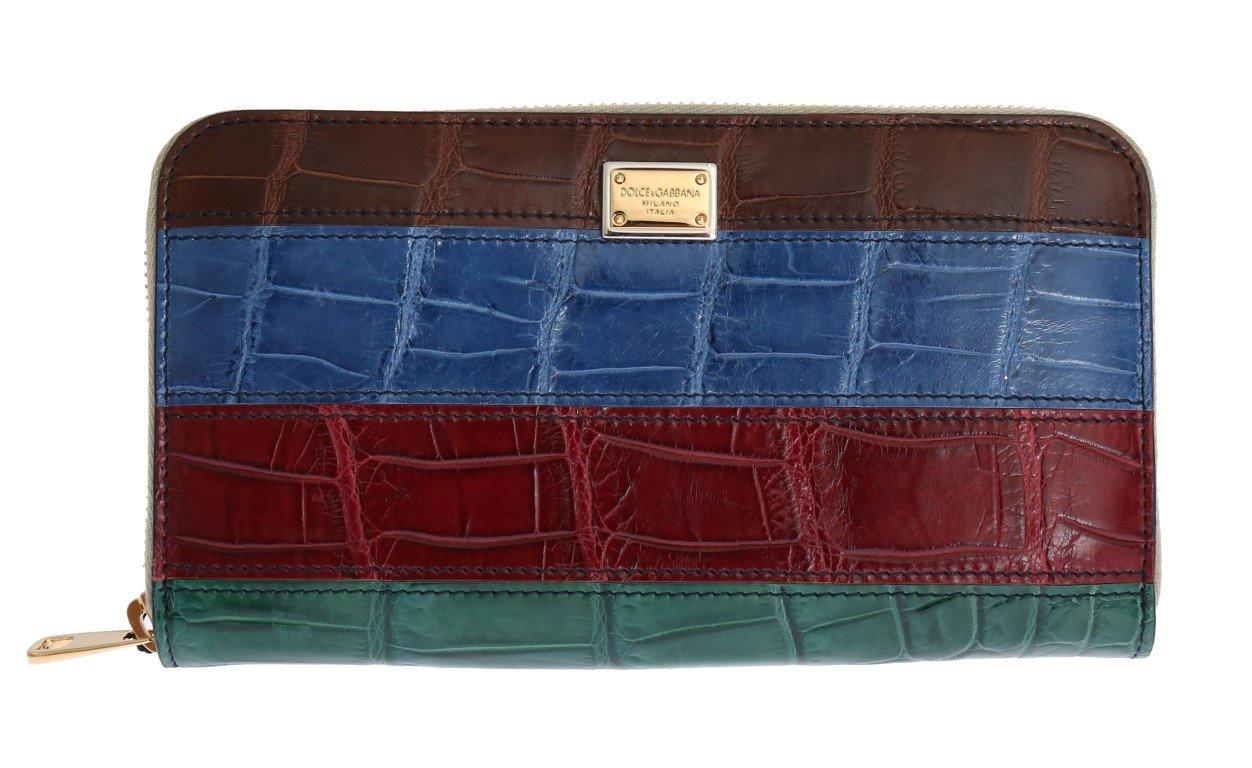 Dolce & Gabbana Women's Leather Crocodile Skin Wallet Multicolor VAS1224