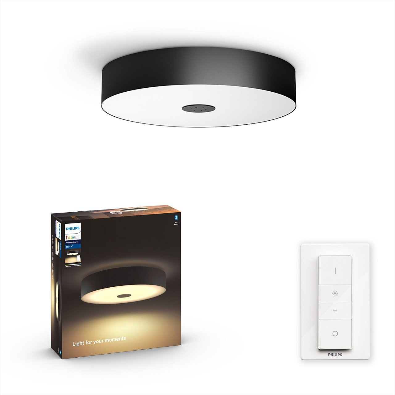 Philips Hue - Fair Hue ceiling lamp black 1x39W 24V - White Ambiance - Bluetooth Included Dimmer