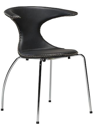 Flair stol – Svart kunstskinn, krom