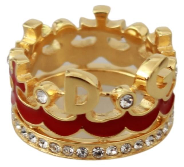 Dolce & Gabbana Women's Crystal CROWN Statement Ring Gold SMY7078 - EU48 | US4.5