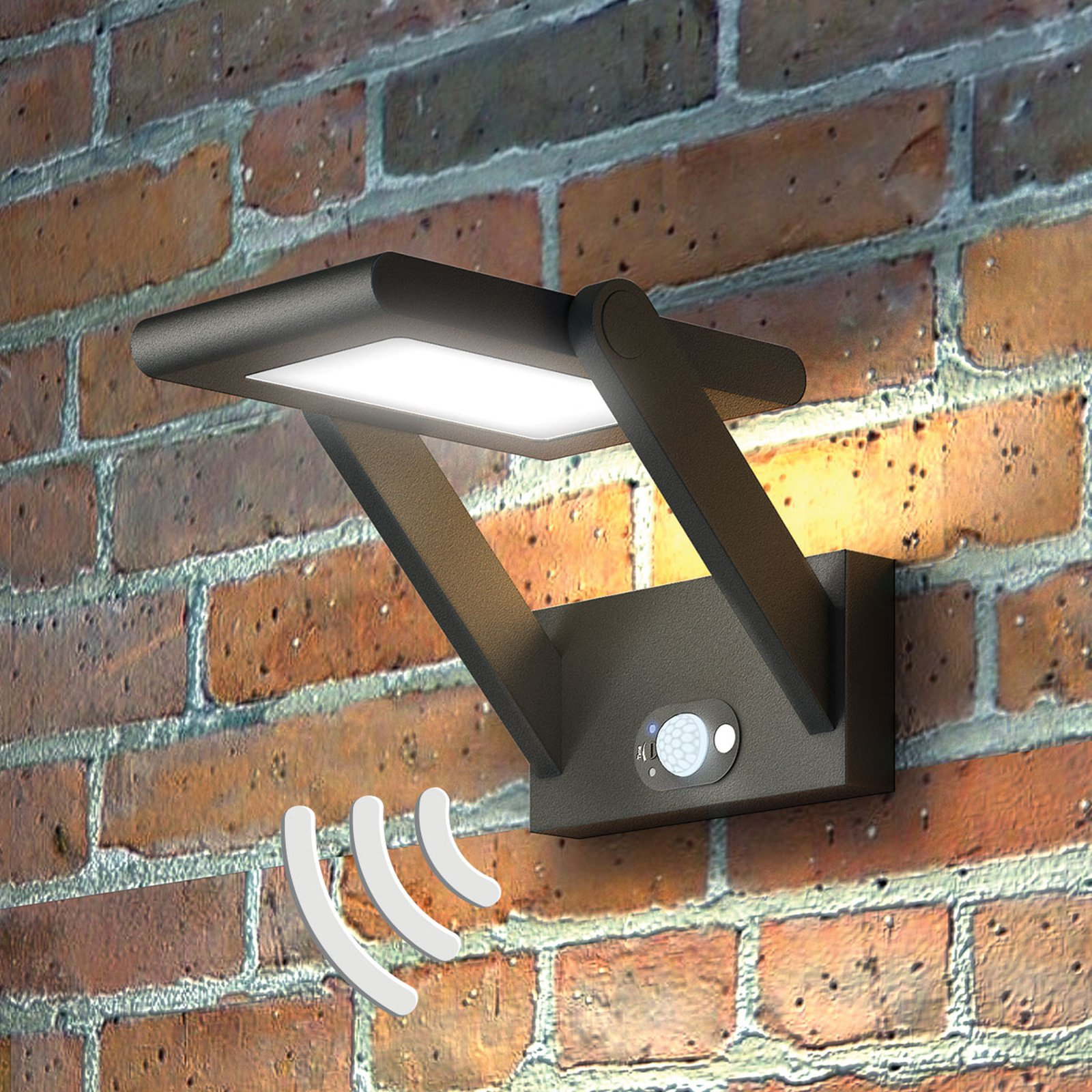 Solcelledrevet vegghengt LED-utelampe Valerian