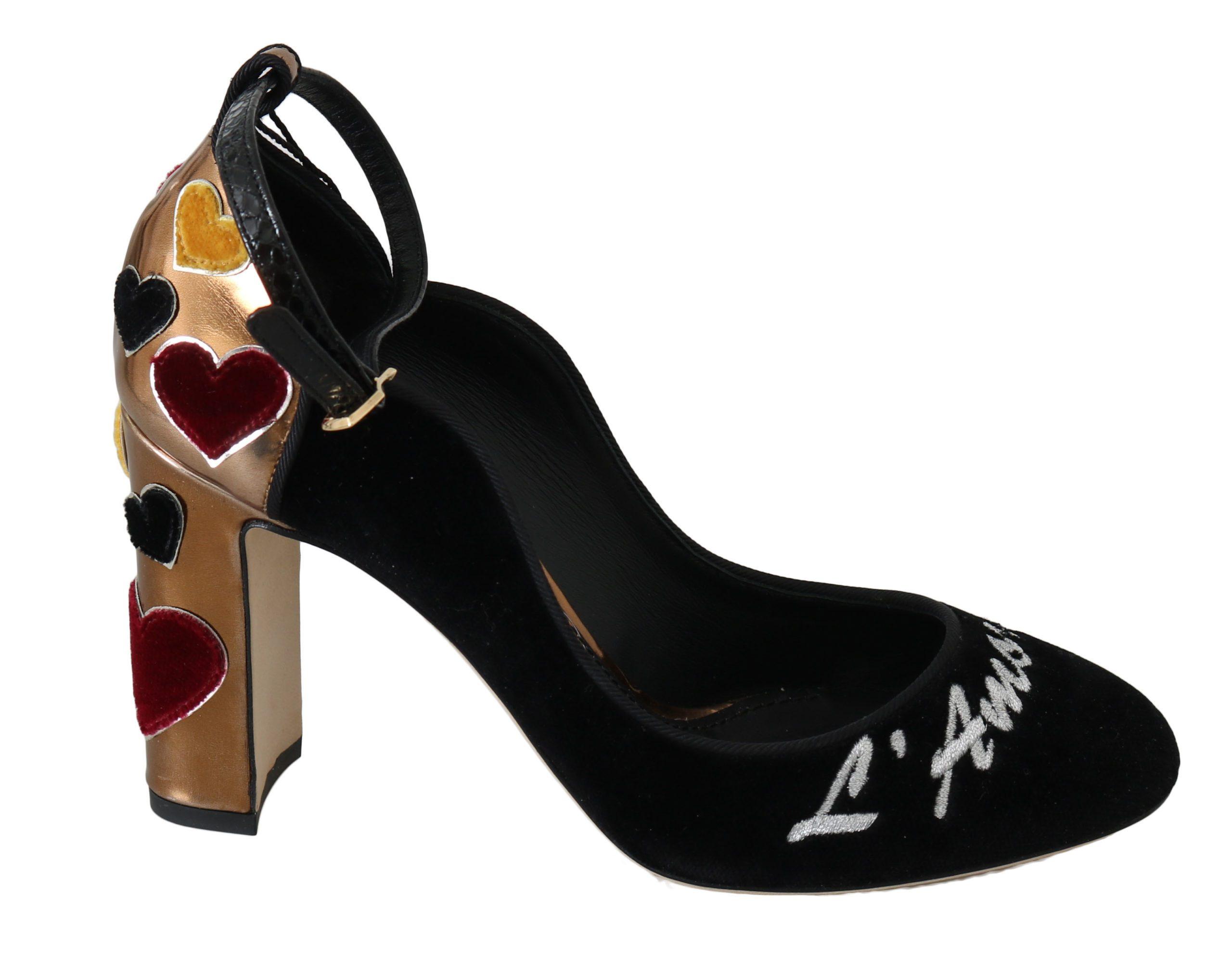 Dolce & Gabbana Women's Leather Hearts Heels Multicolor LA6253 - EU35/US4.5