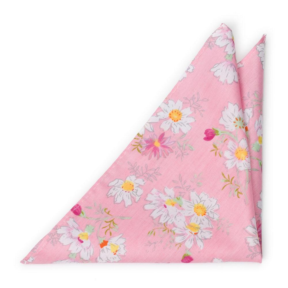 Bomull Lommetørkler, Tusenfryd og kløver på rosa base, Rosa, Blomster