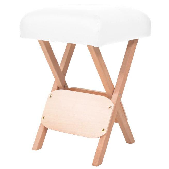 vidaXL Hopfällbar massagepall med 12 cm tjock sits vit