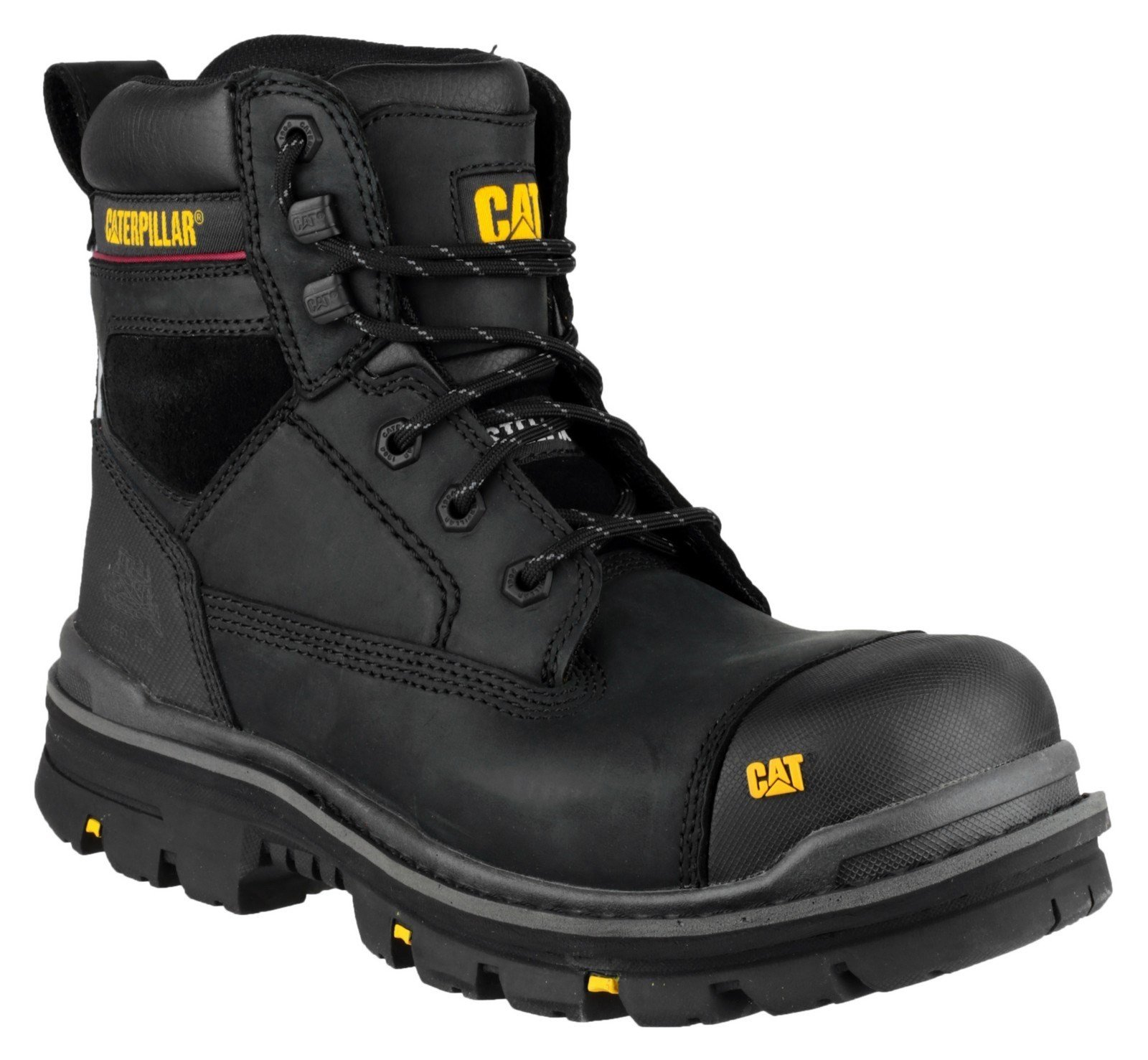 """Caterpillar Men's Gravel 6"""" Safety Boot Black 21617 - Black 6"""