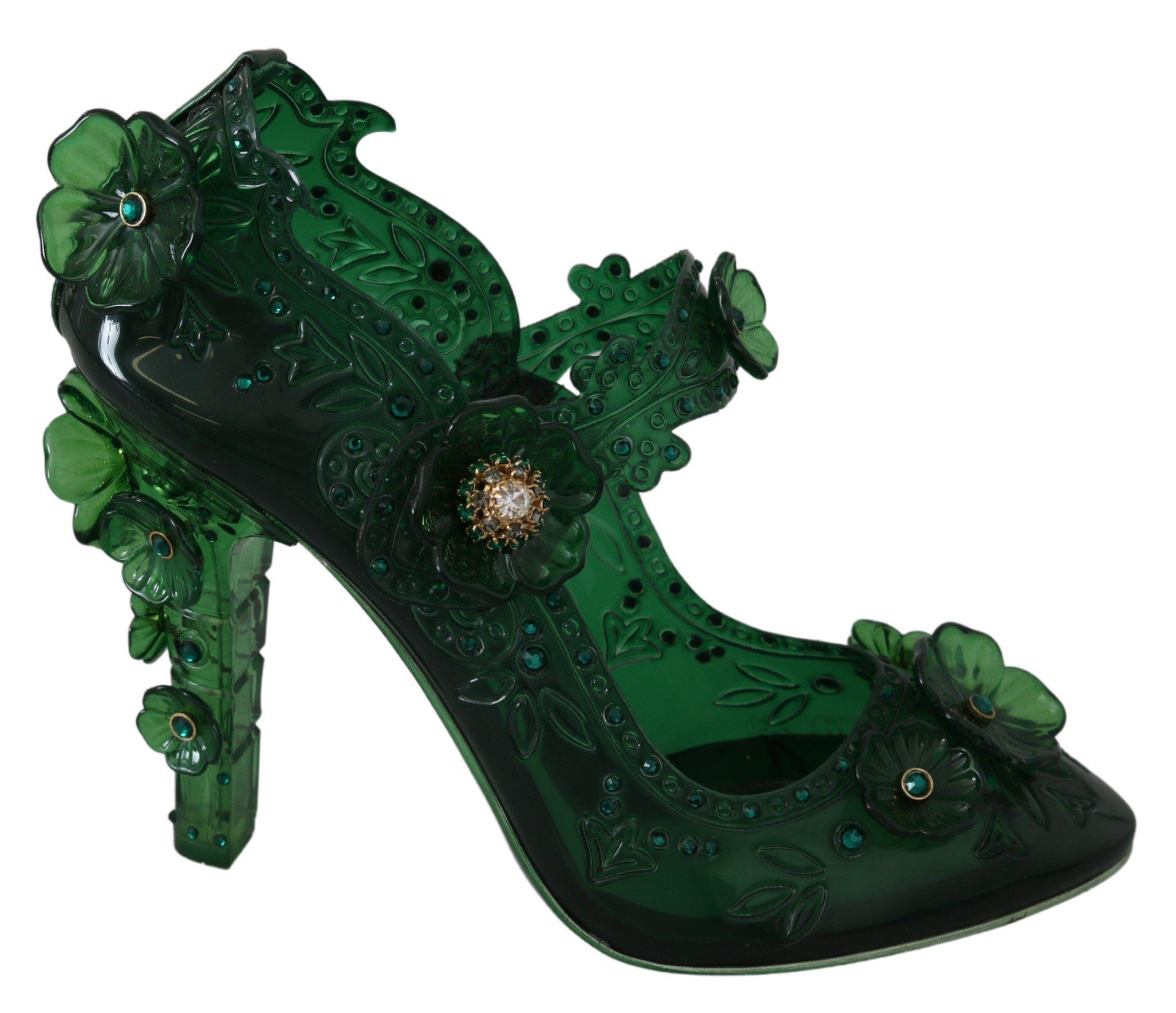 Dolce & Gabbana Women's Floral Crystal CINDERELLA Pumps Green LA7290 - EU39/US8.5
