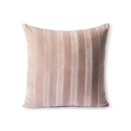 Striped Velvet Cushion Beige/liver 45x45 cm