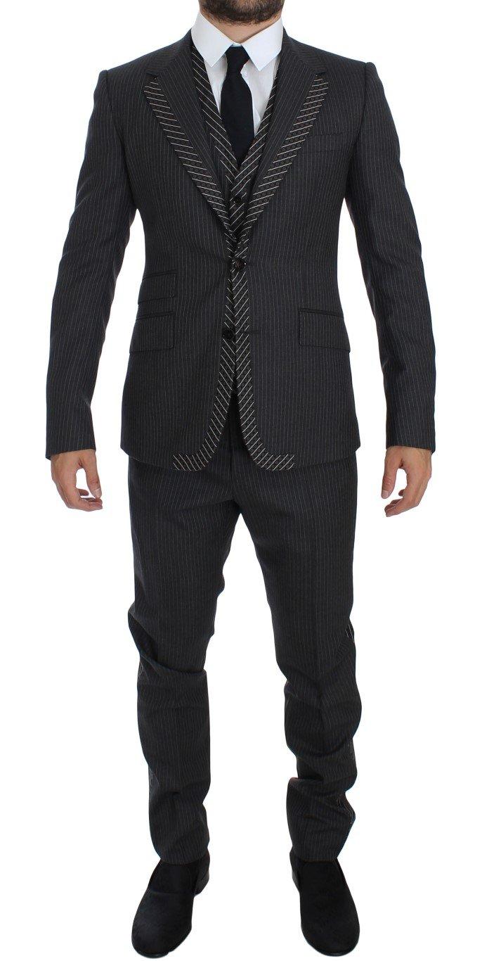 Dolce & Gabbana Men's Striped 3 Piece Slim Suit Tuxedo Gray GTT10169 - IT50   L