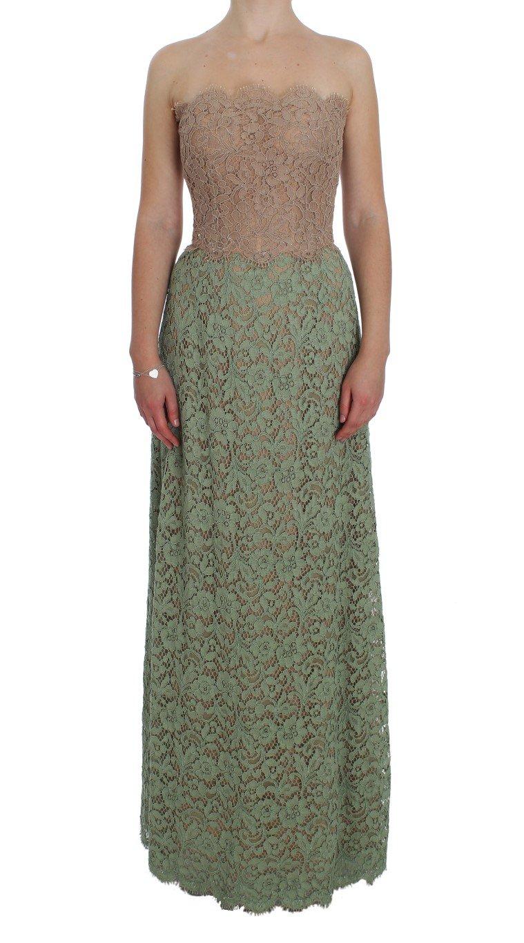 Dolce & Gabbana Women's Floral Lace Pink Corset Dress Green NOC10115 - IT40|S