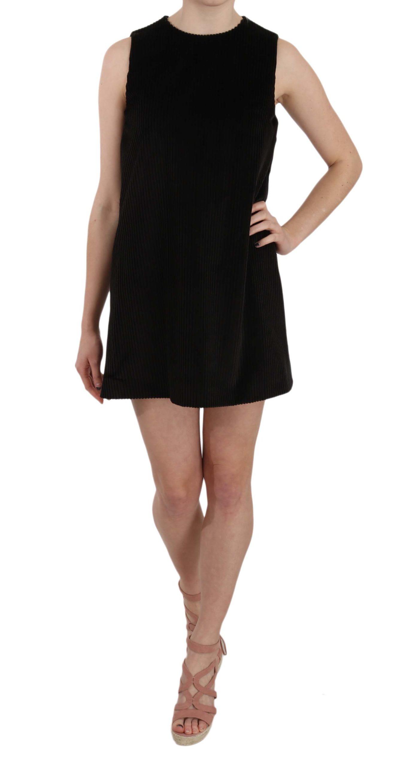 Dolce & Gabbana Women's Cotton Sleeveless Shift Mini Dress Black TSH3256 - IT40|S