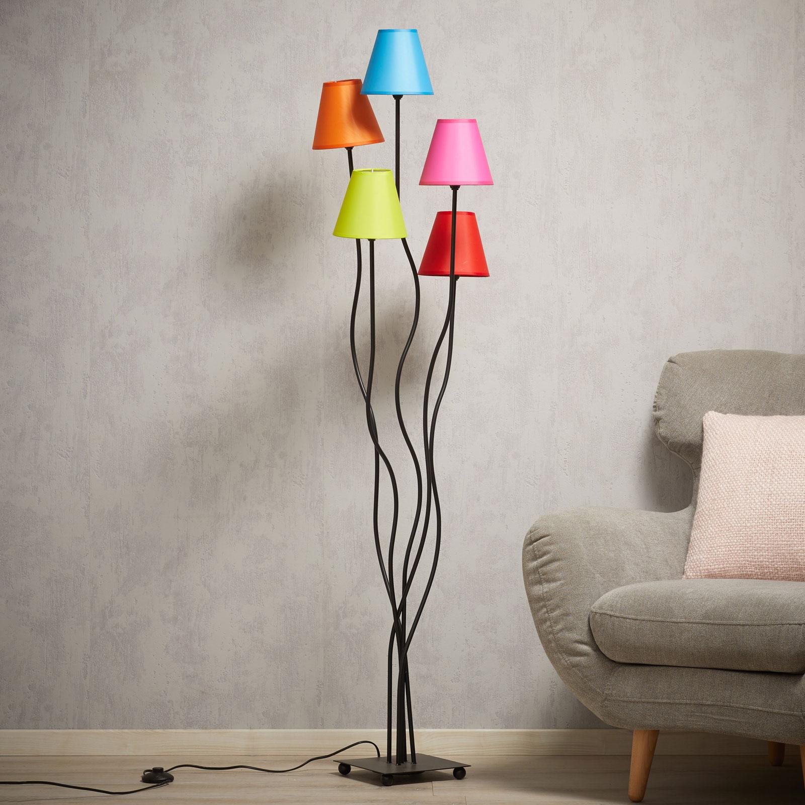 Tekstiililattiavalaisin Colori 5 lamppua värikäs