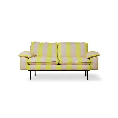 Retro Sofa 2-seter Striped yellow/Nude