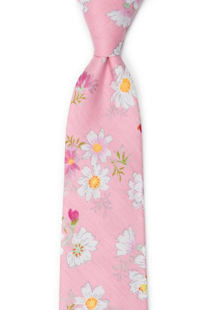 Bomull Slips, Tusenfryd og kløver på rosa base, Rosa, Blomster