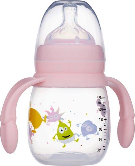 2B Baby Tåteflaske M Håndtak Babblarna 180 ml, Rosa