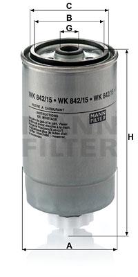 Polttoainesuodatin MANN-FILTER WK 842/15