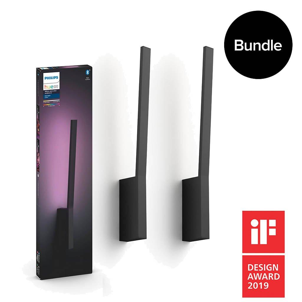 Philips Hue - 2x Liane Wall Light Black - White & Color Ambiance - Bluetooth - Bundle