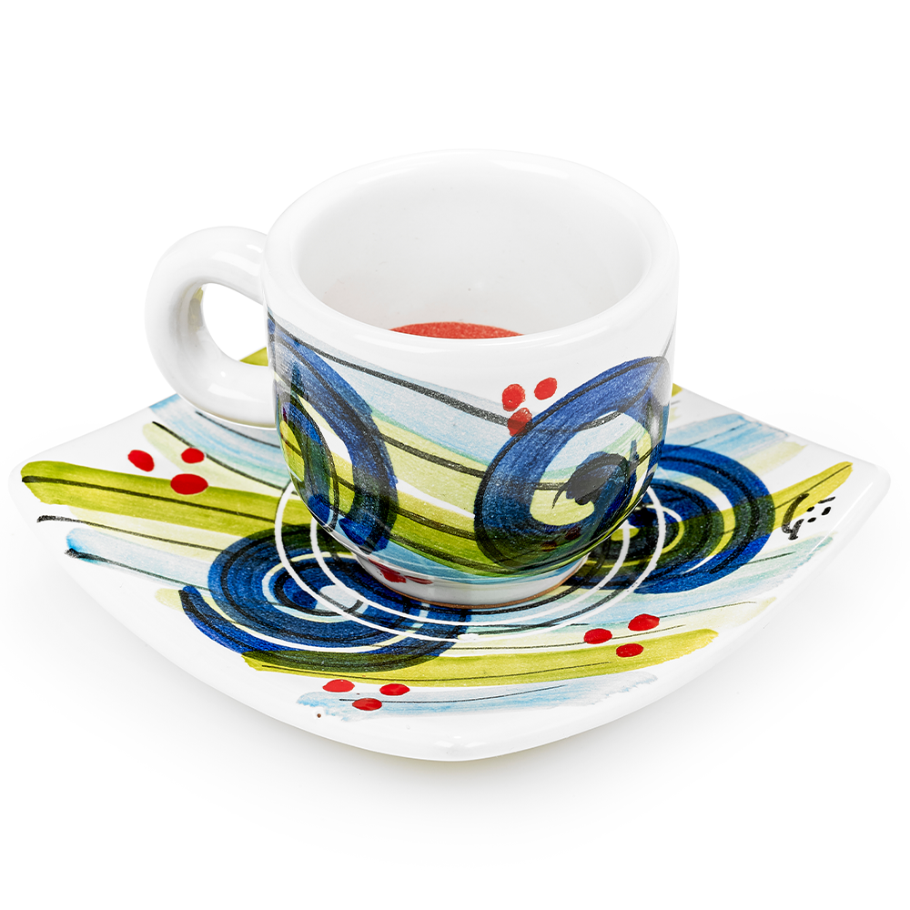 Blue Espresso Cup & Saucer by Sol'Art