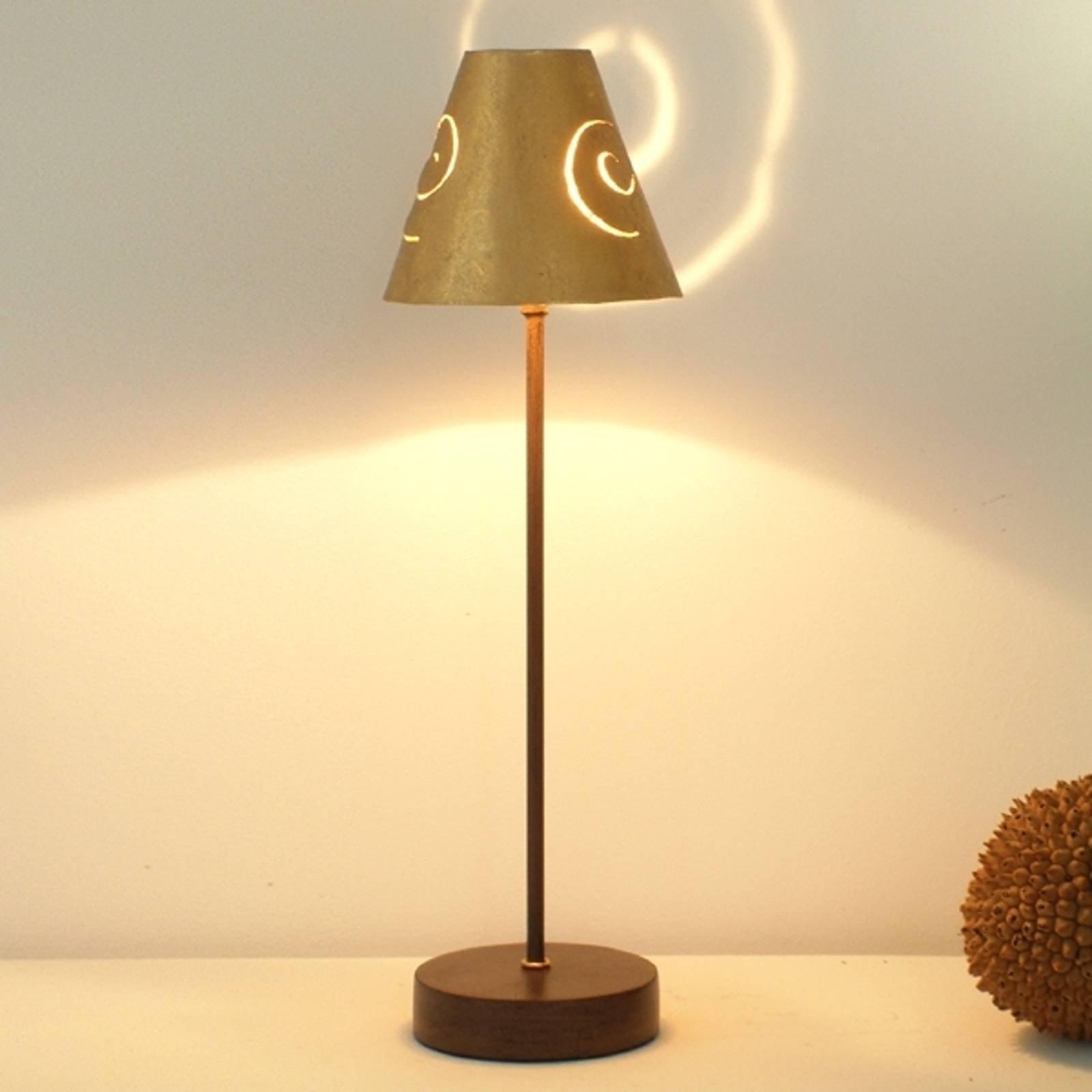 Elegant bordlampe Schneckenhut Gold av jern
