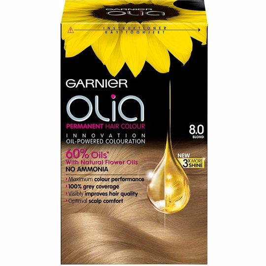 Garnier Olia Permanent Hair Colour, 8.0 Blond, Garnier Hiusvärit