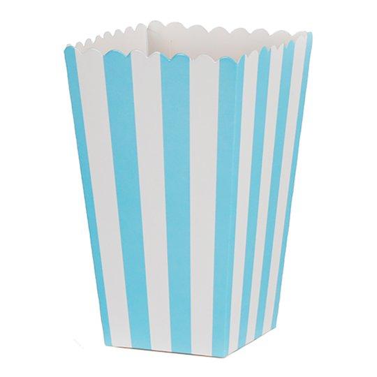 Wilton - Popcornbox ljusblå ränder 6-pack