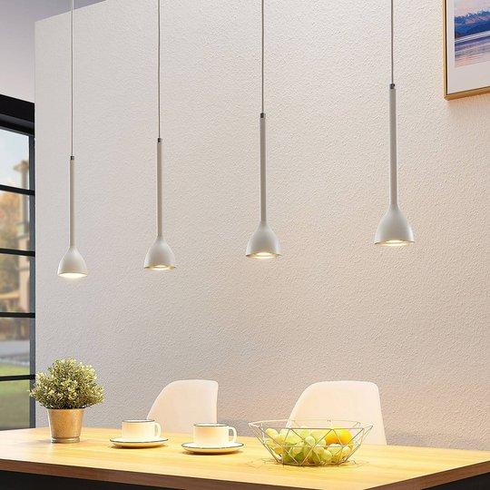 Riippuvalo Nordwin, 4-lamppuinen, valkoinen-hopea