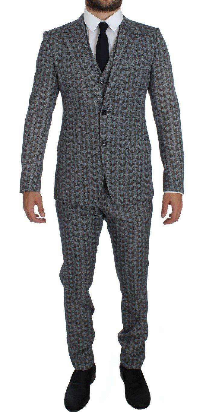 Dolce & Gabbana Men's Wool Owl Print Slim Fit 3 Piece Suit Blue GTT10172 - IT54   XL