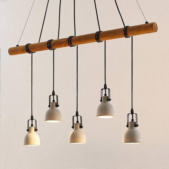 Lindby Mirka -LED-riippuvalaisin betonia ja puuta