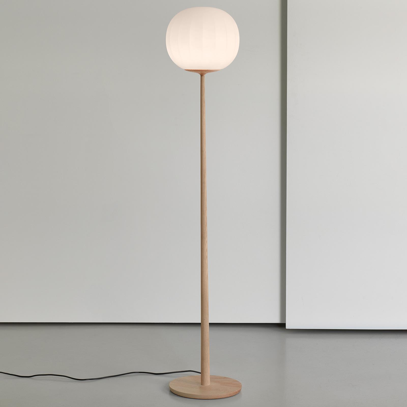 Luceplan Lita -lattiavalo lasivarjostimella, 42 cm